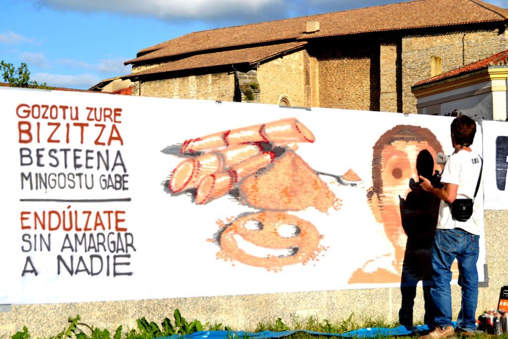 Mural sobre comercio justo.